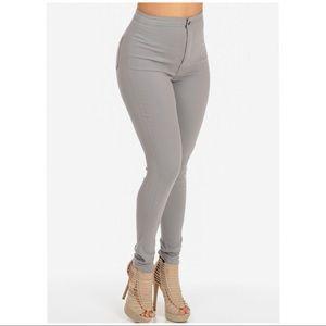 High waist grey skinny jeans